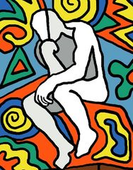 abstract of statue, the thinker, modern art, contemporary, home decor, wall art, wall decor, prints