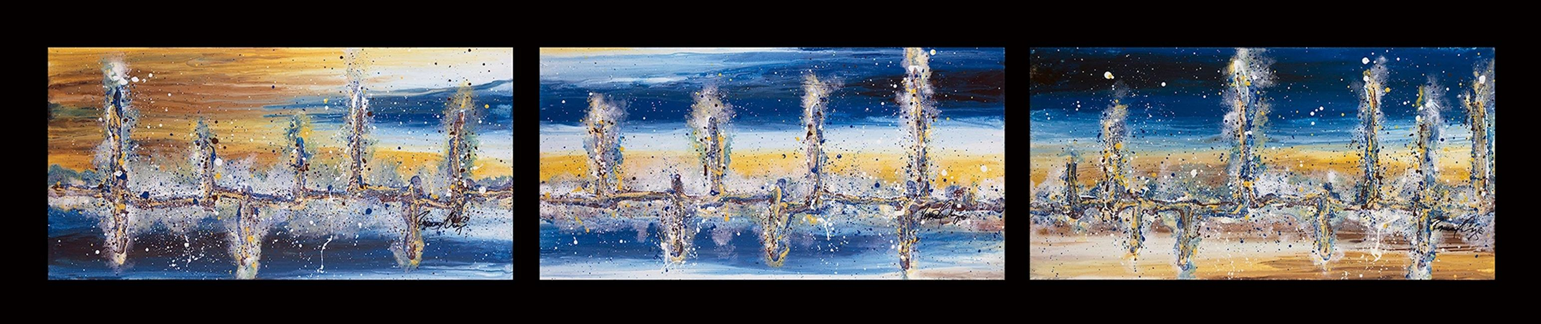 Acrylic abstract artist, Rosemary Craig's triptych, Mercurial