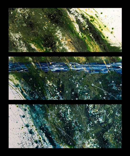 Acrylic abstract artist, Rosemary Craig's triptych, Transformation