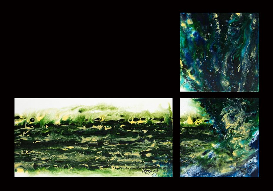 Acrylic abstract artist, Rosemary Craig's triptych, Diverge