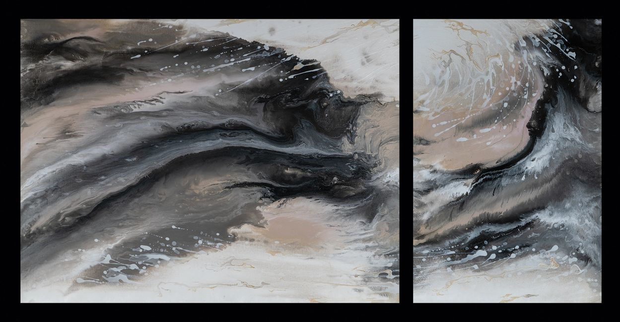 Acrylic abstract artist, Rosemary Craig's diptych, Unveiled
