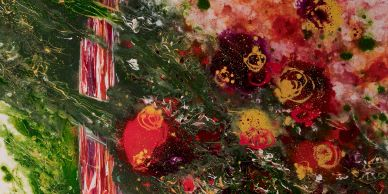 Acrylic abstract painter, Rosemary Craig's Efflorescence