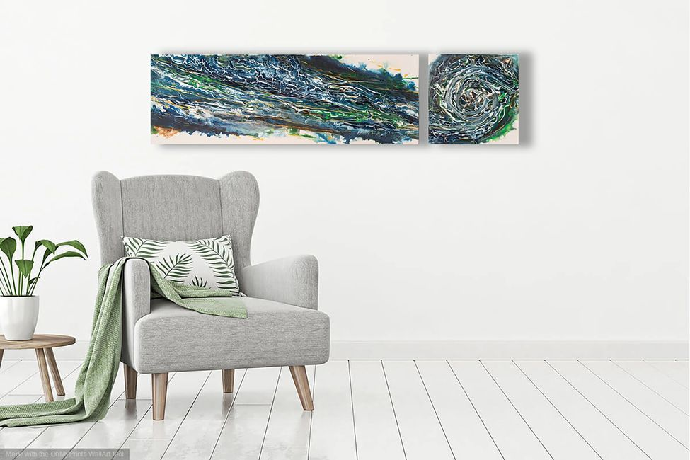 Acrylic abstract artist, Rosemary Craig's diptych, Contrary