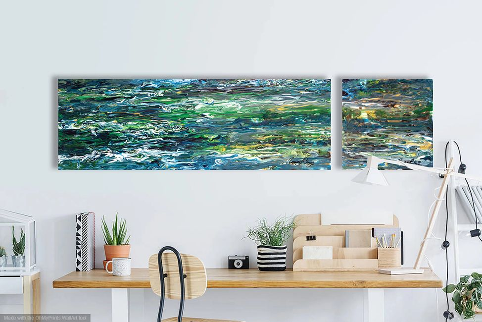 Acrylic abstract artist, Rosemary Craig's diptych, Intimation
