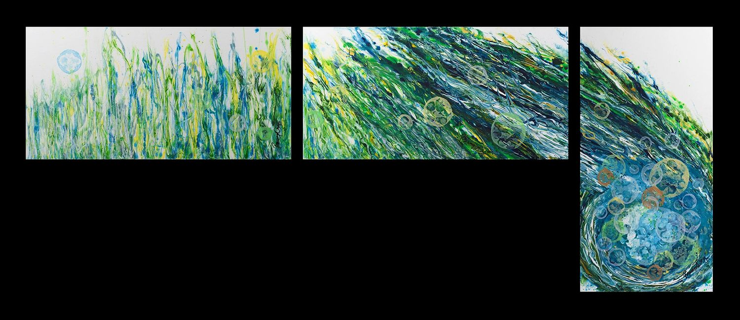 Acrylic abstract artist, Rosemary Craig's triptych, A Moment in Time