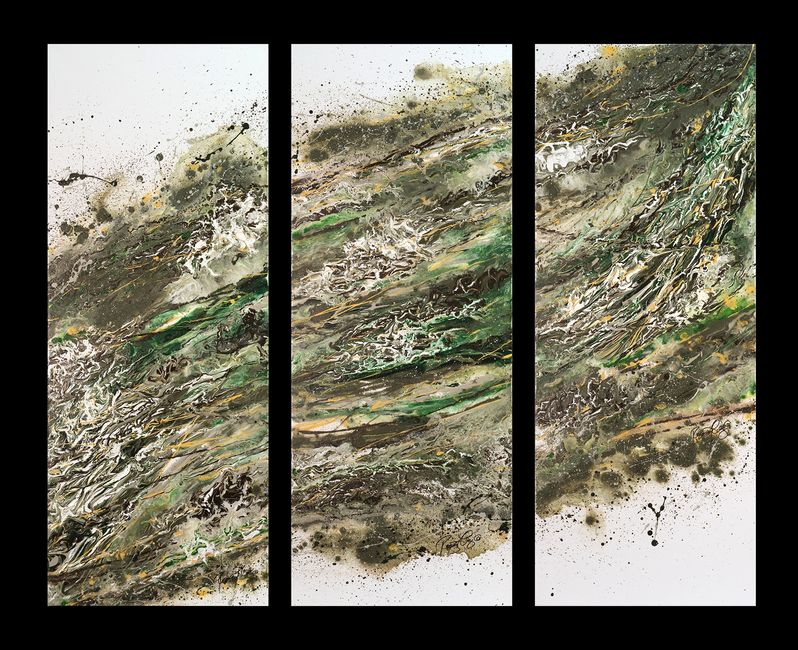 Acrylic abstract artist, Rosemary Craig's triptych, Tempest