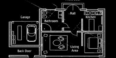 black and white blueprint of a new home with garage