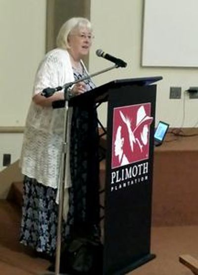 Giving a talk about Flight of the Sparrow at Plymouth Plantation