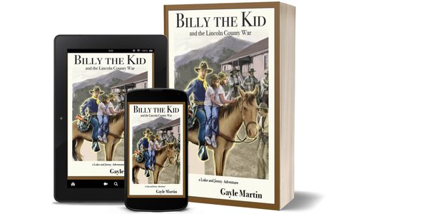 Ebook and paperback edition book covers for Billy the Kid and the Lincoln County War by Gayle Martin.