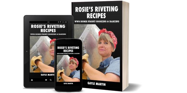 Ebook and paperback edition book covers for Rosie's Riveting Recipes by Gayle Martin.