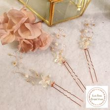 Beautiful rose gold Swarovski Crystal, Pearl and flower bridal hair pins