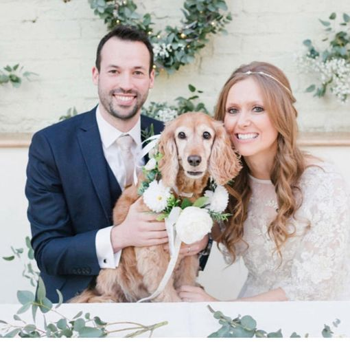 Bride and groom with their dog wearing a white Rose floral dog collar