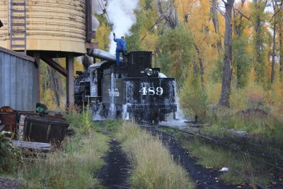 D&RGW K-36 #489 taking on water at the Chama water tank.