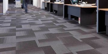 grey, commercial carpet in an office setting