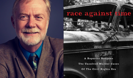 "Jerry Mitchell and the cover of his book, ""Race Against Time."""