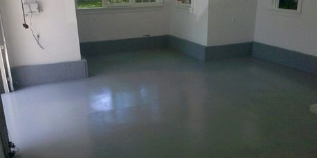 Epoxy sealant on garage floor concrete basement waterproofing