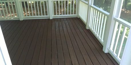 Stained deck with painted spindles