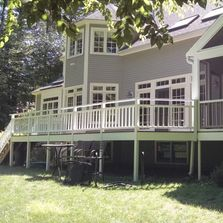 Exterior paint job with trim, windows, spindles, screened in porch, stained deck, railings,