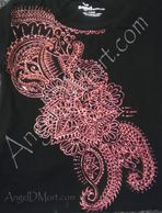 Henna design in copper on a black tshirt