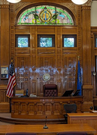Photo above: Courtroom inside the Richland County Courthouse in Richland Center, WI.