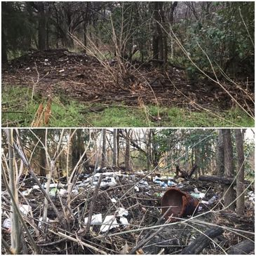 Before and after of a section cleaned during the 1st Annual Fish Creek Cleanup Challenge Feb 9, 2019