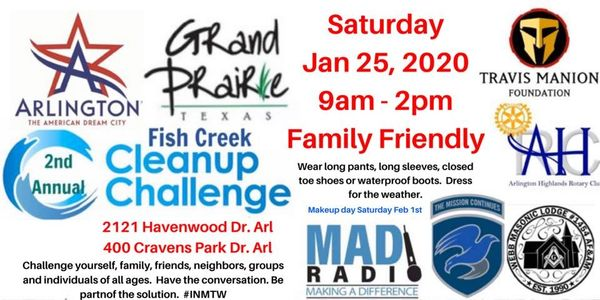 2nd Annual Fish Creek Cleanup Challenge  Saturday January 25, 2020 9 am in Arlington & Grand Prairie
