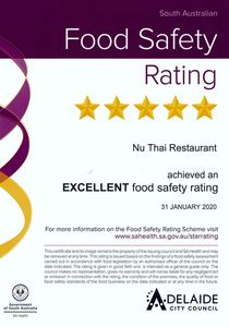 5 star rating for excellent food safety, Nu Thai Restaurant 5 years consistency for 5 star achievement