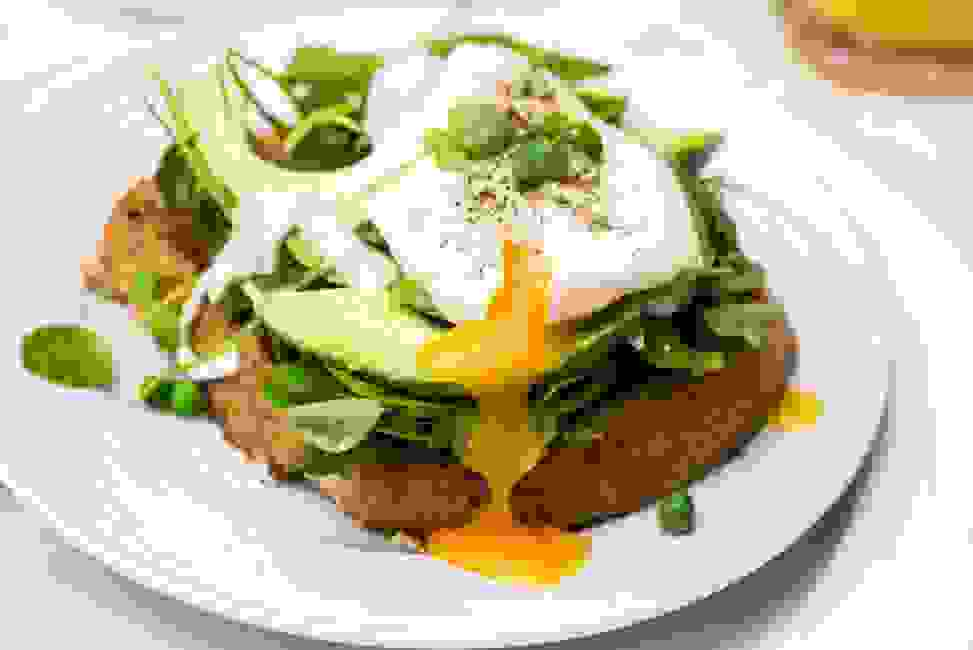 Sunny side up egg with avocado and wheat toast