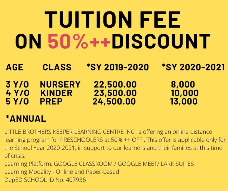 learning center or school tuition fee discount