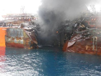 Collision damage to a tanker
