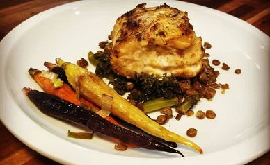 Lola's Spices Southwest Opah with lentils and grilled carrots