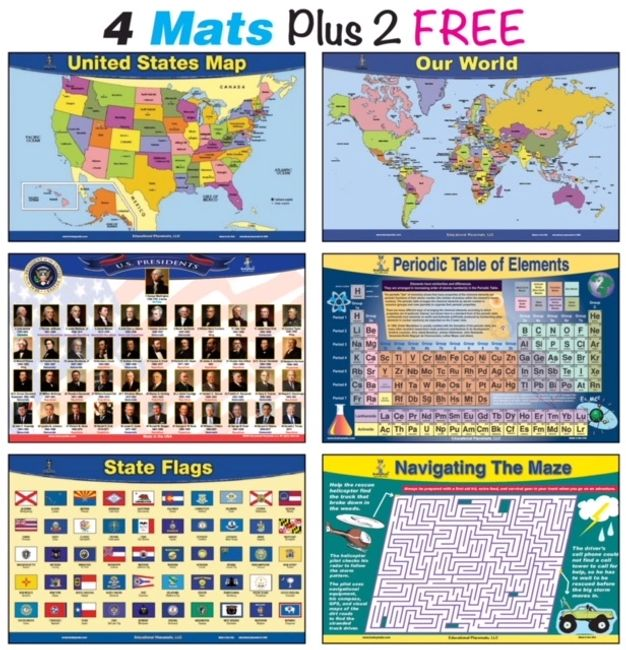 educational kids place mats set with the presidents periodic table USA world maps. Double sided