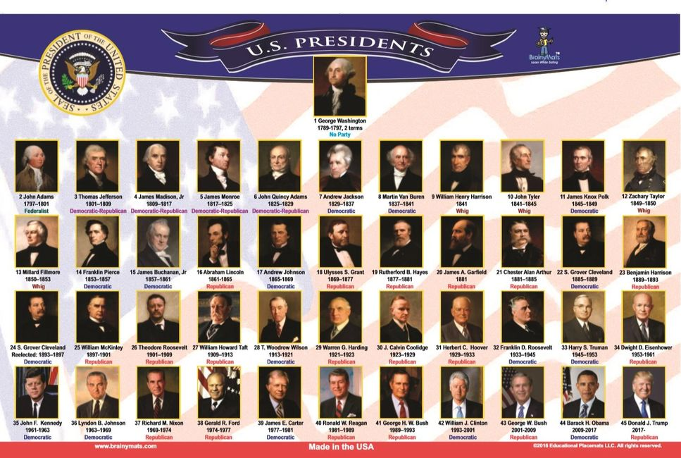 presidents place mat for kids washable double-sided made in the USA