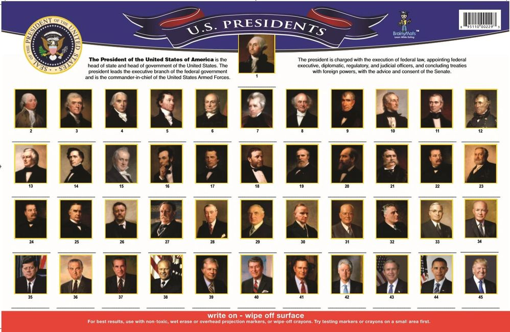 US Presidents educational place mat for toddlers children kids adults teachers educational supplies