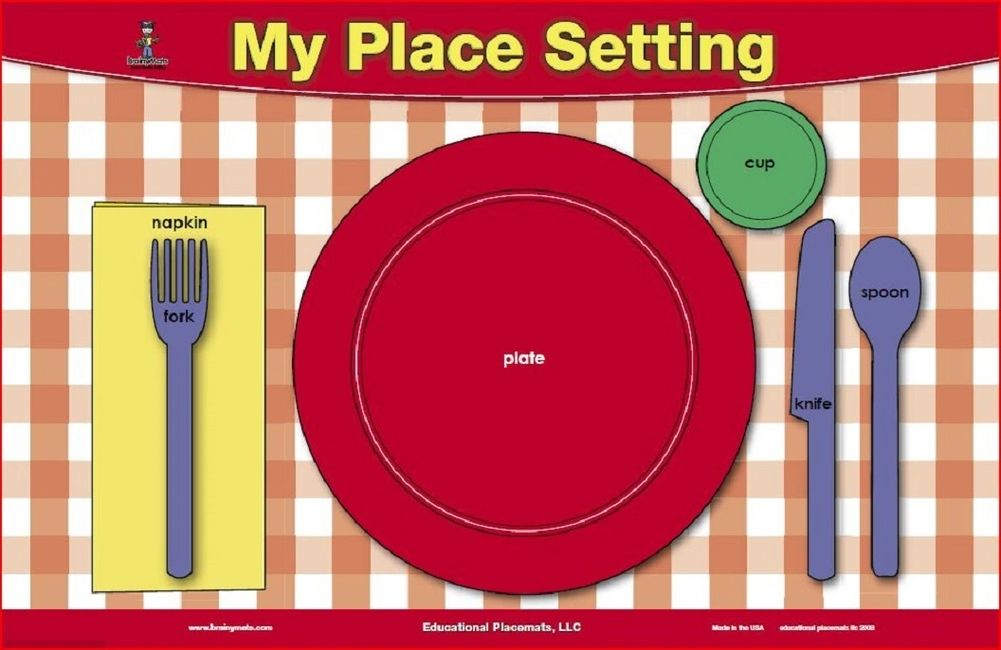 learn to set a table for kids place mat