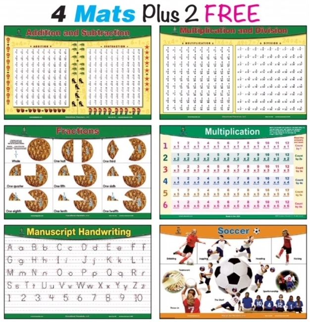 math educational place mats for kids addition subtraction multiplication table fractions handwriting