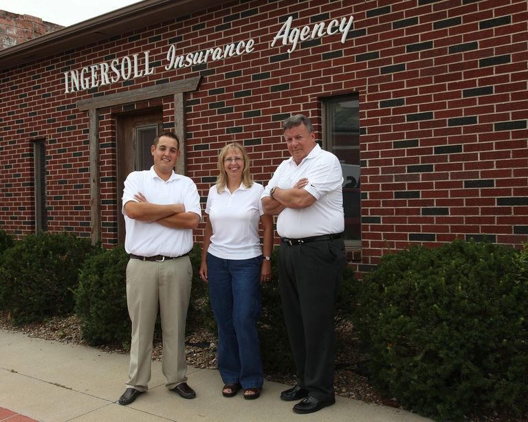 Staff outside of Ingersoll Insurance Agency in Savannah, Missouri.