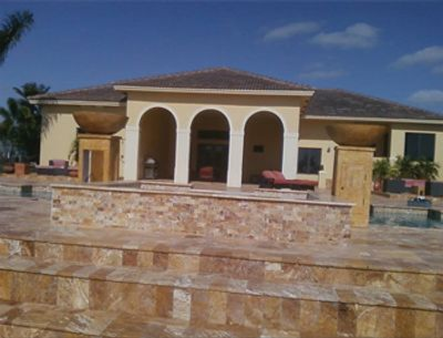 Travertine pool deck avers pool