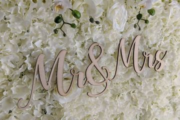 Mr & Mrs  wedding sign for rent with our white flower wall