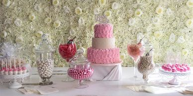 Candy Bar, cakes, candy, flower wall, desserts, engagement, birthday, wedding