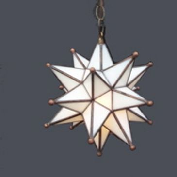 Custom stained glass Moravian Star chandelier fabricated for Mar-a-Lago Estate, Palm Beach, Fla.