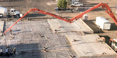 Concrete pumping in North Battleford for the Theater. Pouring floors> Working with contractors.