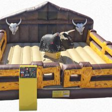 Mechanical Bull rental game with inflatable ring available in Nova Scotia New Brunswick and PEI