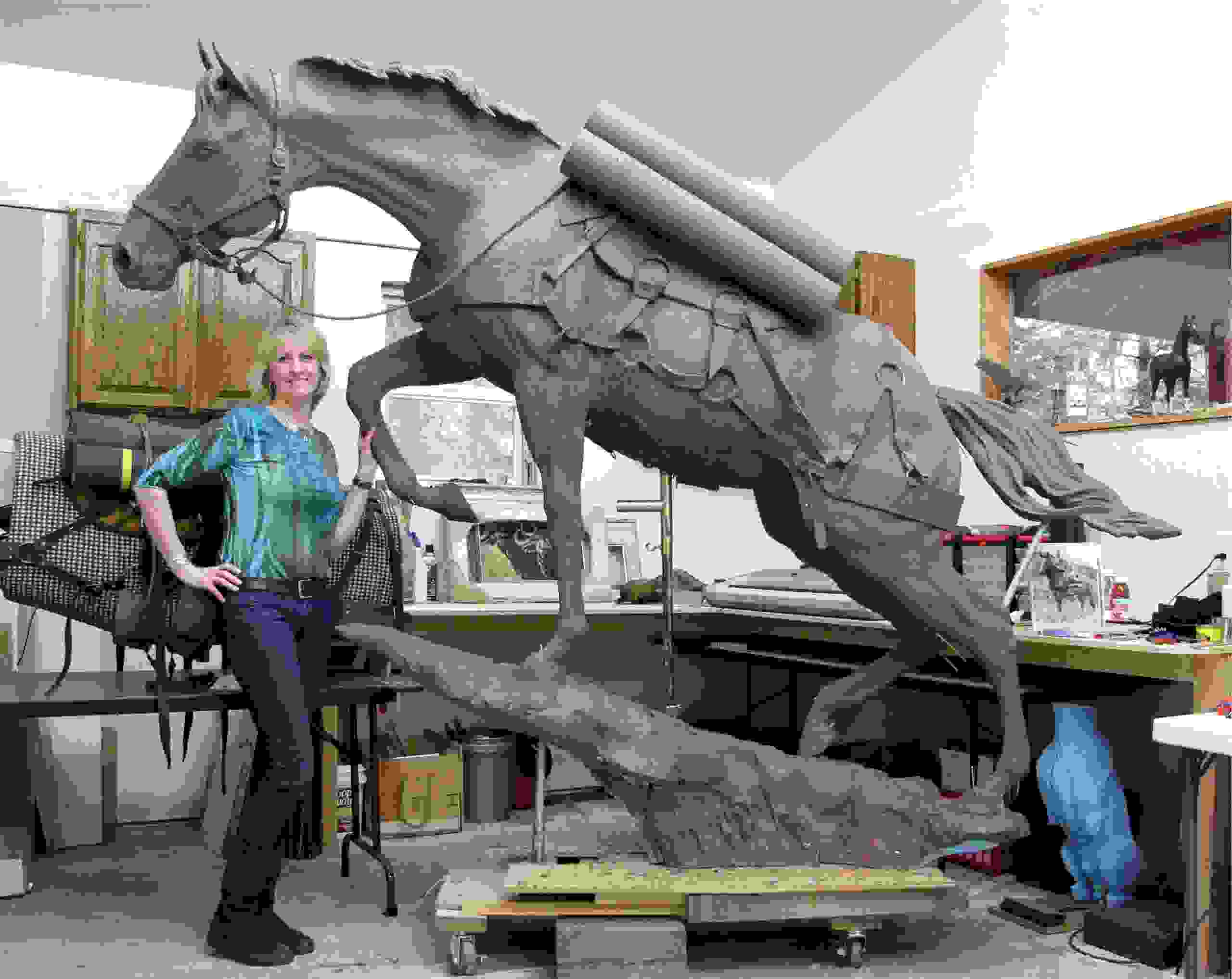 Jocelyn in her studio just before she took Reckless apart to put on the finishing touches.
