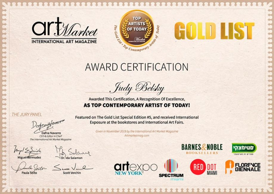 Judy Belsky awarded on the Gold List of Top Artist of Today