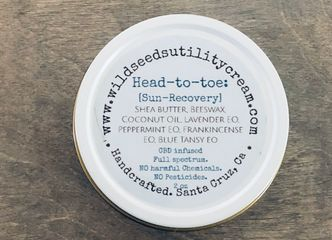 Head to toe. wild seeds utility cream. sun recovery. natural skin care. heals sunburn