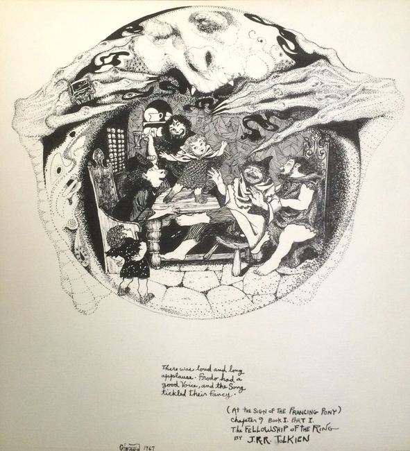 Lord of the Rings Drawing. Estate of A. Abramson. Artist: Bill Girard. Royal Oak, MI. 1940-2011
