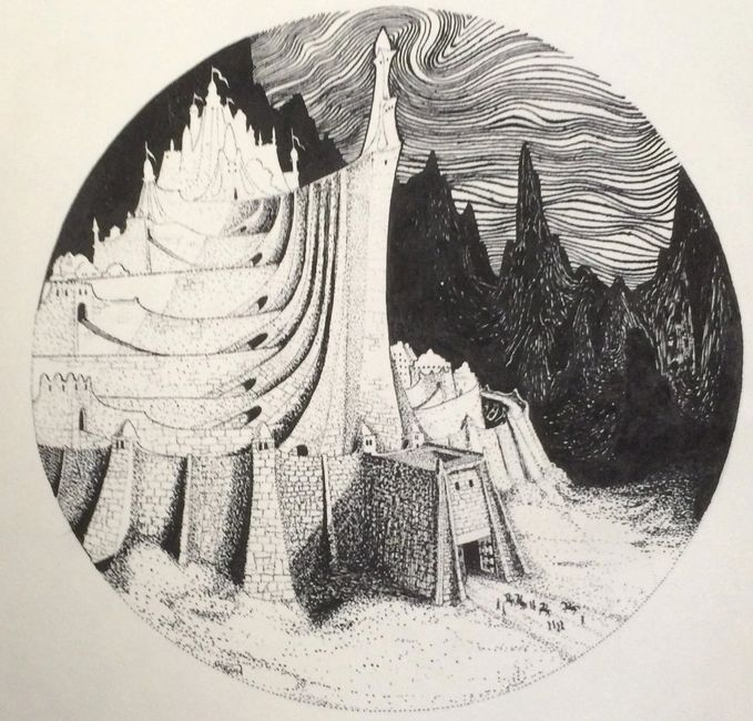 Minas Tirith Pen/ink drawing . Artist: Bill Girard. Royal Oak, MI. 1940-2011