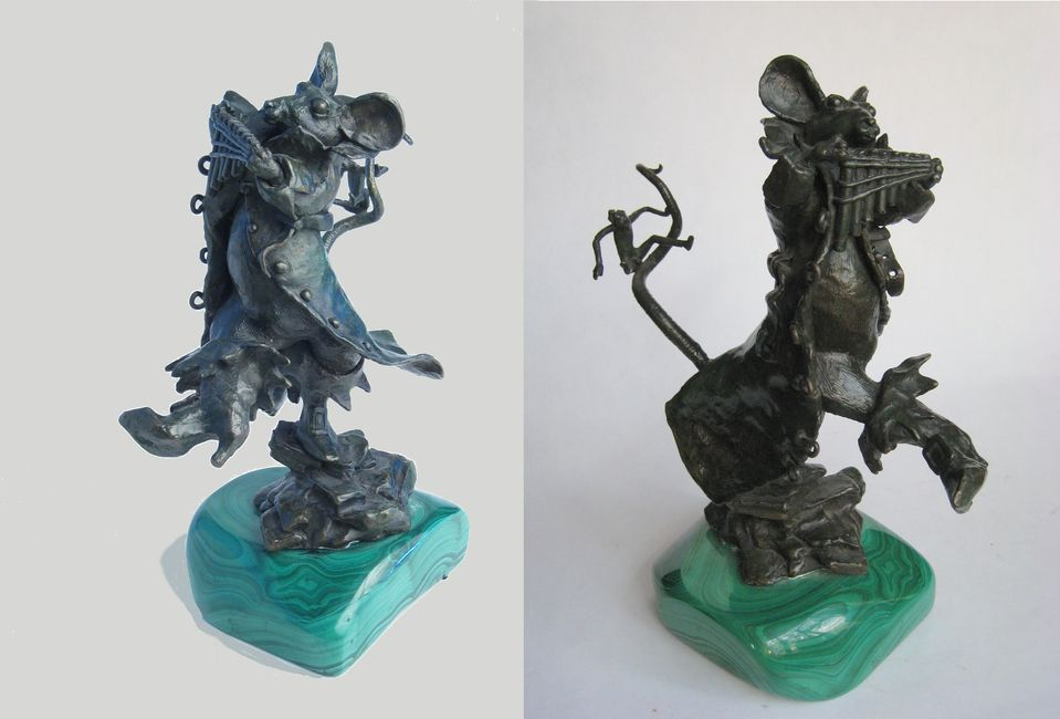 "Pied Piper. Bronze. Orig. estate of Allen Abramson.  Approximately 8"" x 6"" x 5"". Artist: Bil Girard"