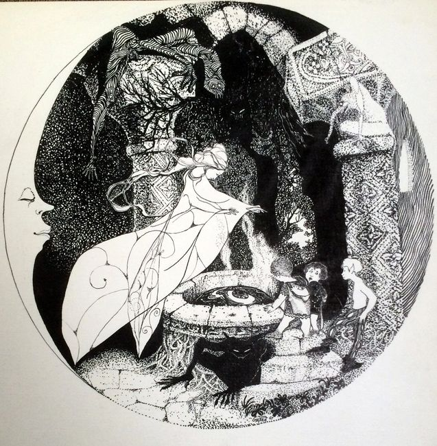 Mirror of Galadriel. Pen/ink drawing . Artist: Bill Girard. Royal Oak, MI. 1940-2011